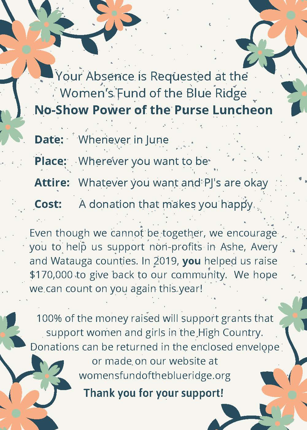 Copy of Your Absence is Requested at the Women's Fund of the Blue Ridge's No-Show Power of the Purse Luncheon (4)